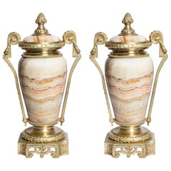 Pair of Gilt Bronze and Agate Cassolettes, France, Late 19th Century
