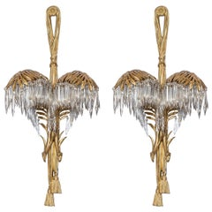 Pair of Gilt Bronze and Baccarat Crystal Sconces, Attributed to Maison Jansen