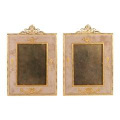 Pair of Gilt Bronze and Beige Velvet Frames, Napoleon III Period