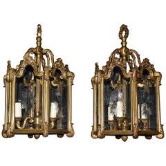 Pair of Gilt Bronze and Crystal Lanterns