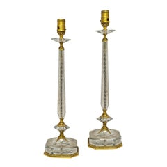 Pair of Gilt Bronze and Crystal Table Lamps attributed to E. F. Caldwell