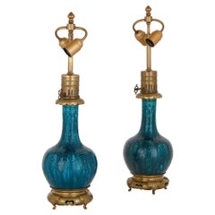 Pair of Gilt Bronze and Faience Lamps, Attributed to Théodore Deck