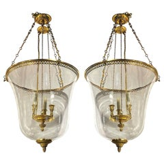 Pair of Gilt Bronze and Glass Lanterns