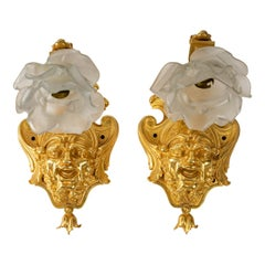Pair of Gilt Bronze and Glass Paste Wall Lights