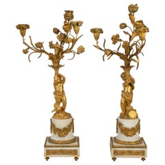 Pair of Gilt Bronze and Marble Candelabra, Napoleon III Period, 1880