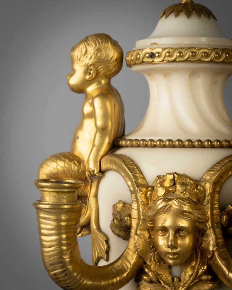 French Pair of Gilt Bronze and Marble Figural Four-Light Candelabra, circa 1860 For Sale