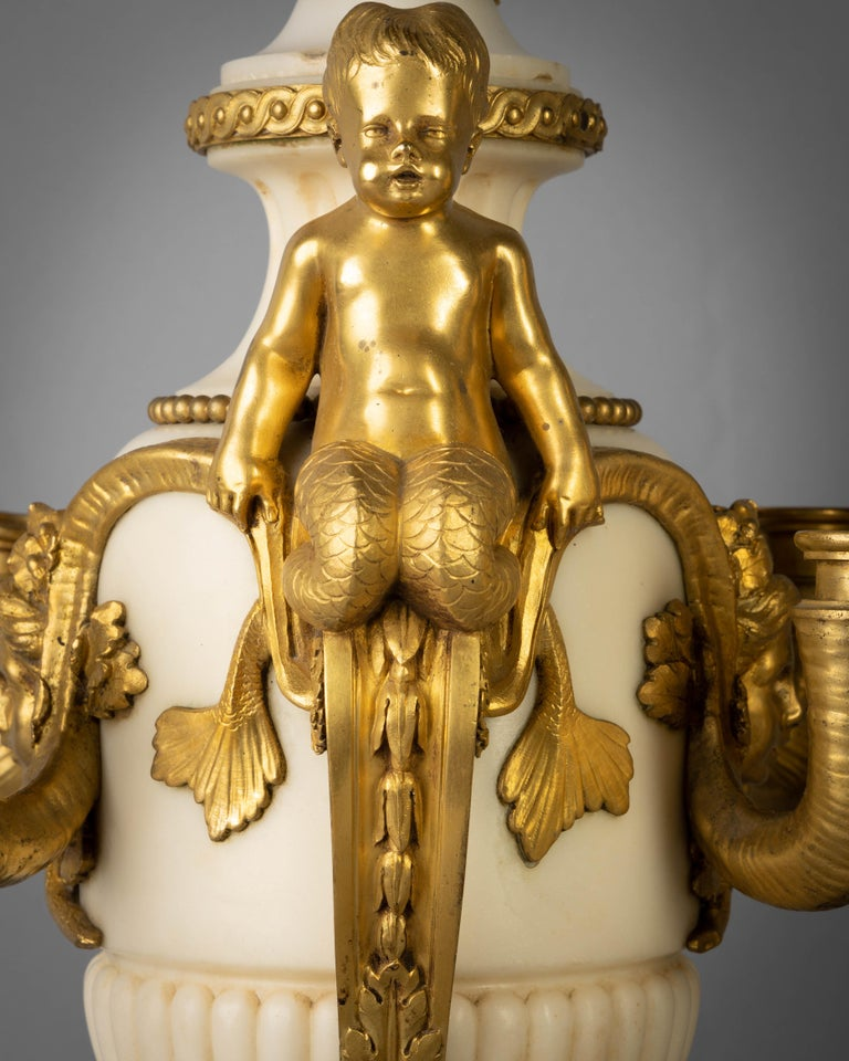Pair of Gilt Bronze and Marble Figural Four-Light Candelabra, circa 1860 In Good Condition For Sale In New York, NY