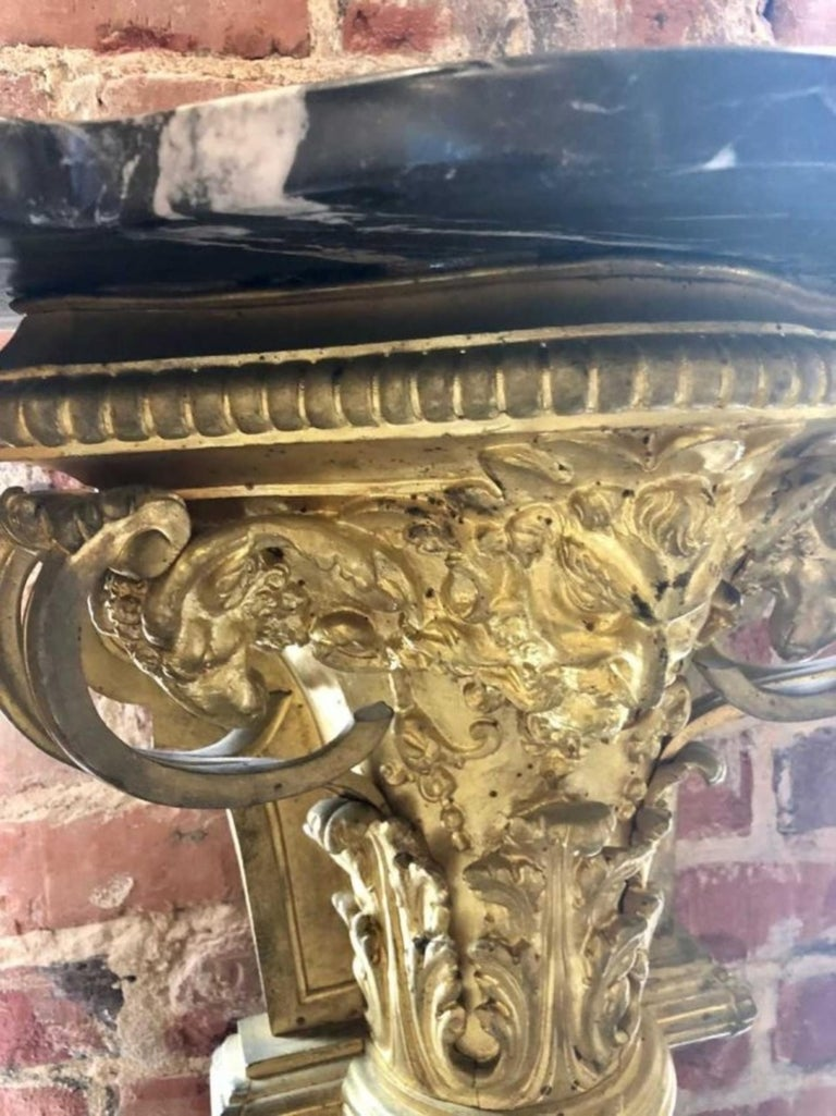 Pair of Gilt-Bronze and Marble-Top Figural Pedestals For Sale 4