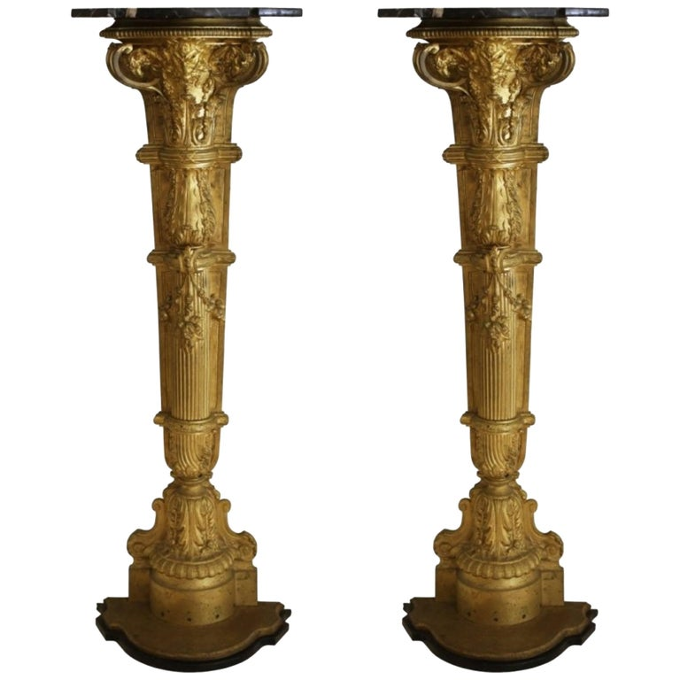 Pair of Gilt-Bronze and Marble-Top Figural Pedestals For Sale