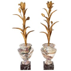 Pair of Gilt Bronze and Marble Tulip Form Candleholders