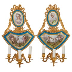 Pair of Gilt Bronze and Porcelain Wall Lights