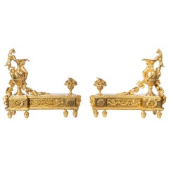 Pair of Gilt Bronze Andirons Signed E. Mottheu, France, Late 19th Century