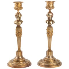 Pair of Gilt Bronze Candelabras