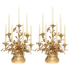Pair of Gilt Bronze Candelabras with Flowers, France, Late 19th Century