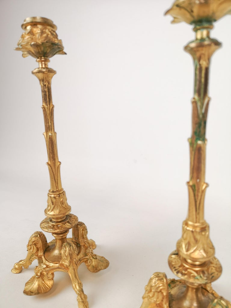 Swedish Pair of Gilt Bronze Candle Sticks 19th Century For Sale