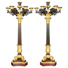 Pair of Gilt Bronze Candlesticks on Marble