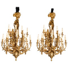 Pair of Gilt Bronze Chandeliers with Lost-Wax Process. France, circa 1890