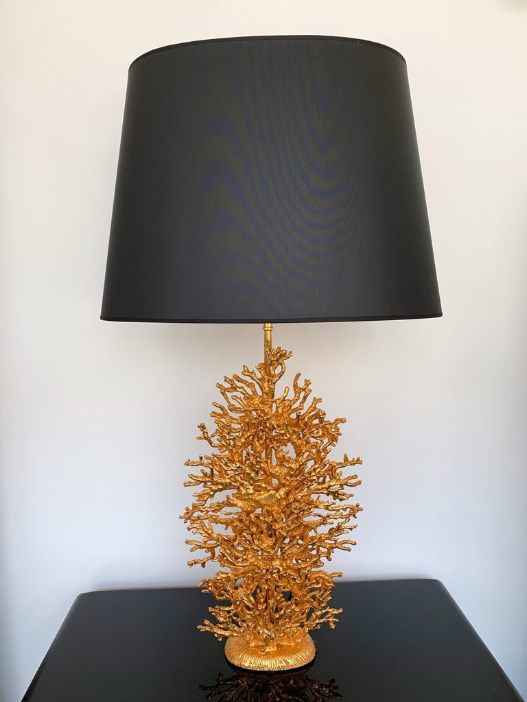 Pair of bedside or table lamps gilt metal style bronze model coral by the artist Stephane Galerneau. Sign on the base Galerneau Paris. Height top of sculpture 42 cms. Famous artist who have worked for Fondica like Mathias, Pierre Casenove, Nicolas