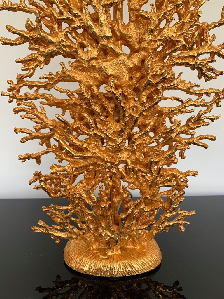 Pair of Gilt Bronze Coral Lamps by Stephane Galerneau, France, 1990s In Excellent Condition For Sale In SAINT-OUEN, FR