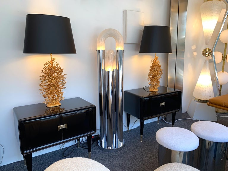 Pair of Gilt Bronze Coral Lamps by Stephane Galerneau, France, 1990s For Sale 2