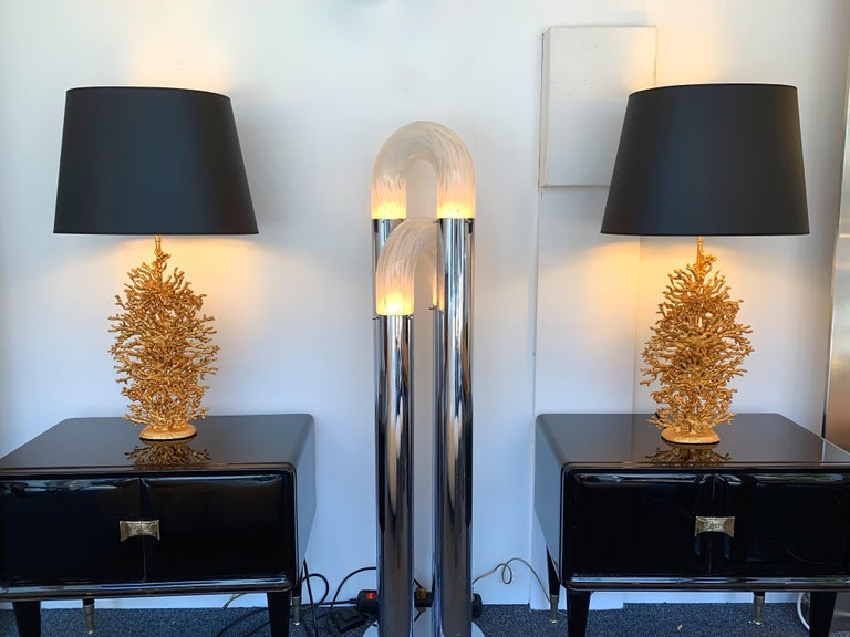 Pair of Gilt Bronze Coral Lamps by Stephane Galerneau, France, 1990s For Sale 3