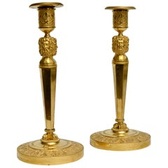 Pair of Gilt Bronze Empire Candlesticks, Paris