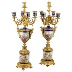 Pair of Gilt Bronze Jeweled Sèvres Style Porcelain Candelabras