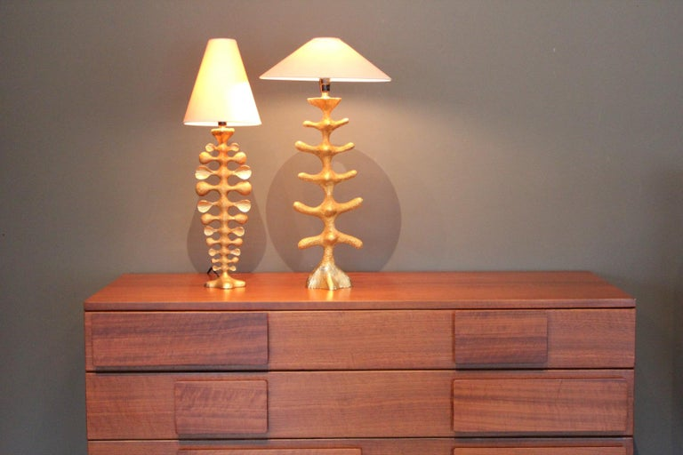 Pair of Gilt Bronze Lamps by Pierre Casenove for Fondica For Sale 8