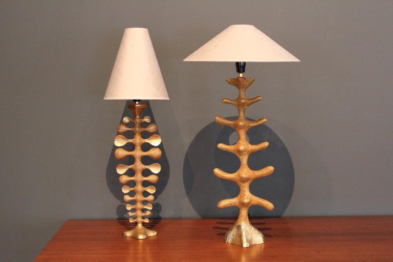 A pair of heavy cast bronze lamps by Pierre Casenove for Fondica.