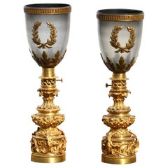 Pair of Gilt-Bronze Lamps in the French Restauration Style