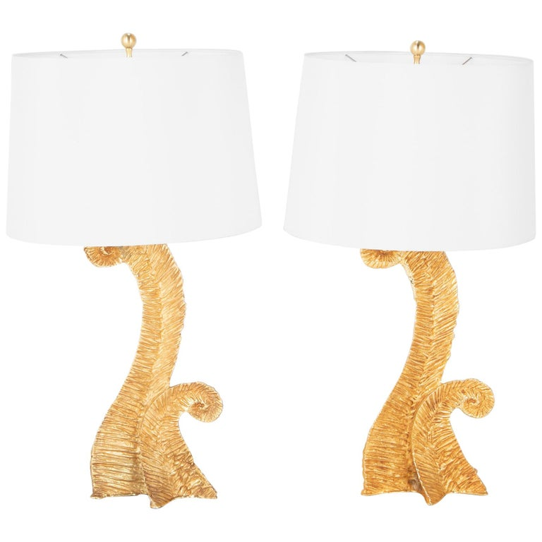 Pair of Gilt Metal Lamps Presumed by Pierre Casenove For Sale