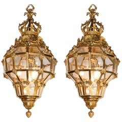 Pair of Gilt Bronze Lanterns, France, Late 19th Century