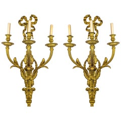 Pair of Gilt Bronze Louis XVI Style Three-Light Wall Light Sconces