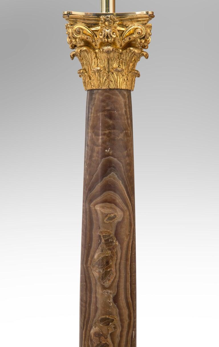 Neoclassical Pair Gilt Bronze Mounted Alabastro Egiziano Column Lamps, after Luigi Valadier For Sale