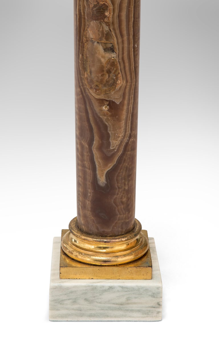 19th Century Pair Gilt Bronze Mounted Alabastro Egiziano Column Lamps, after Luigi Valadier For Sale