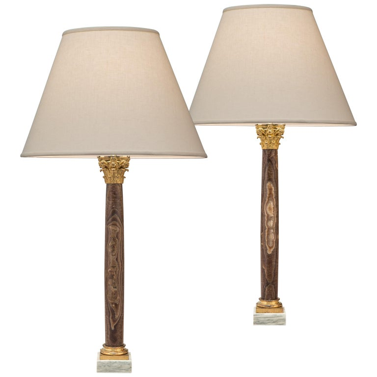 Pair Gilt Bronze Mounted Alabastro Egiziano Column Lamps, after Luigi Valadier For Sale