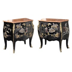 Pair of Gilt Bronze Mounted Black and Polychrome Lacquered Chinoiserie Commodes