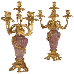 Pair of Gilt Bronze-Mounted Marble Candelabra