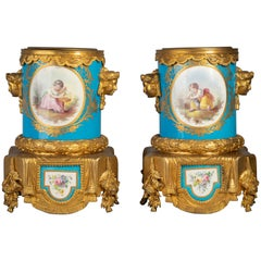 Pair of Gilt Bronze Mounted 'Sevres' Porcelain Wine Coolers, circa 1880