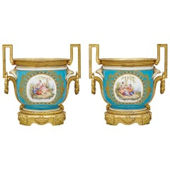 Pair of Gilt-Bronze Mounted Turquoise Ground Sèvres Style Jardinières