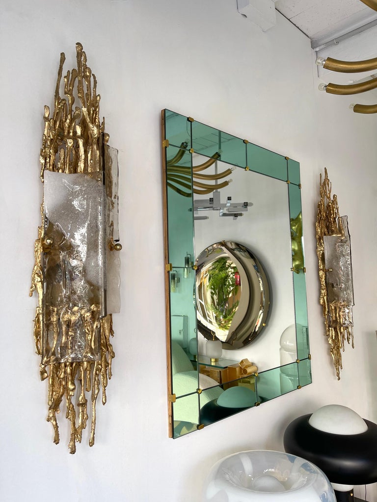 Pair of Gilt Bronze Murano Glass Sconces by Claude Victor Boeltz, France, 1970s For Sale 5