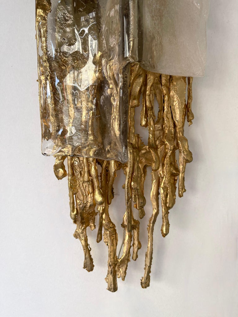 Pair of Gilt Bronze Murano Glass Sconces by Claude Victor Boeltz, France, 1970s For Sale 8