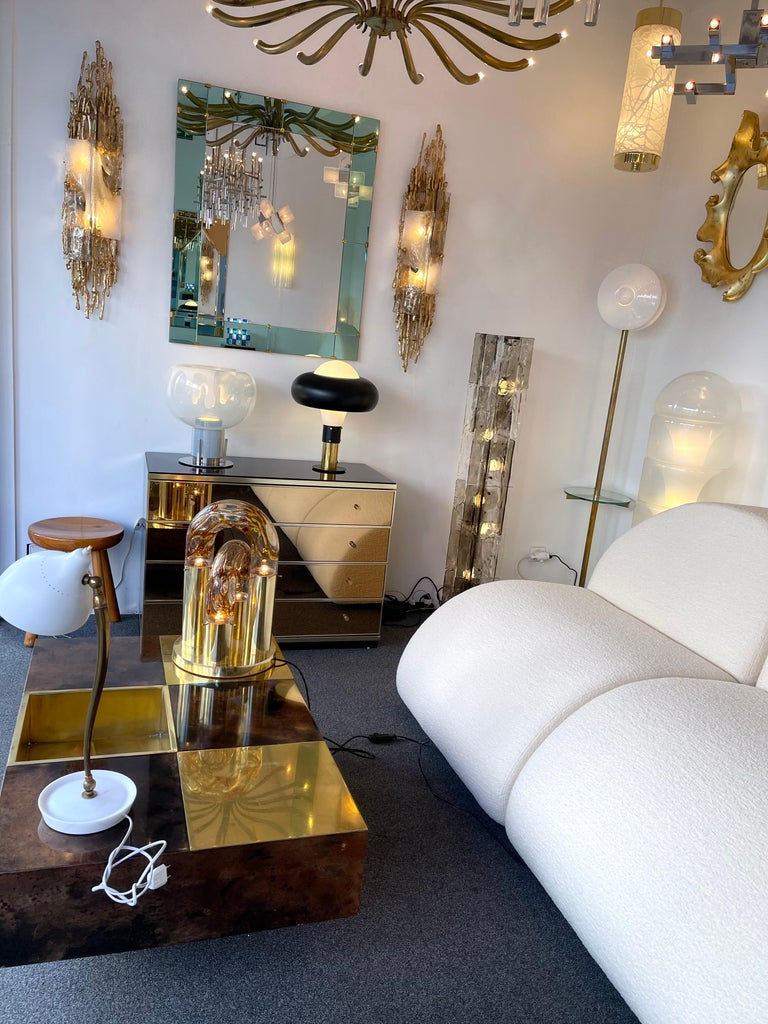 Pair of Gilt Bronze Murano Glass Sconces by Claude Victor Boeltz, France, 1970s For Sale 9