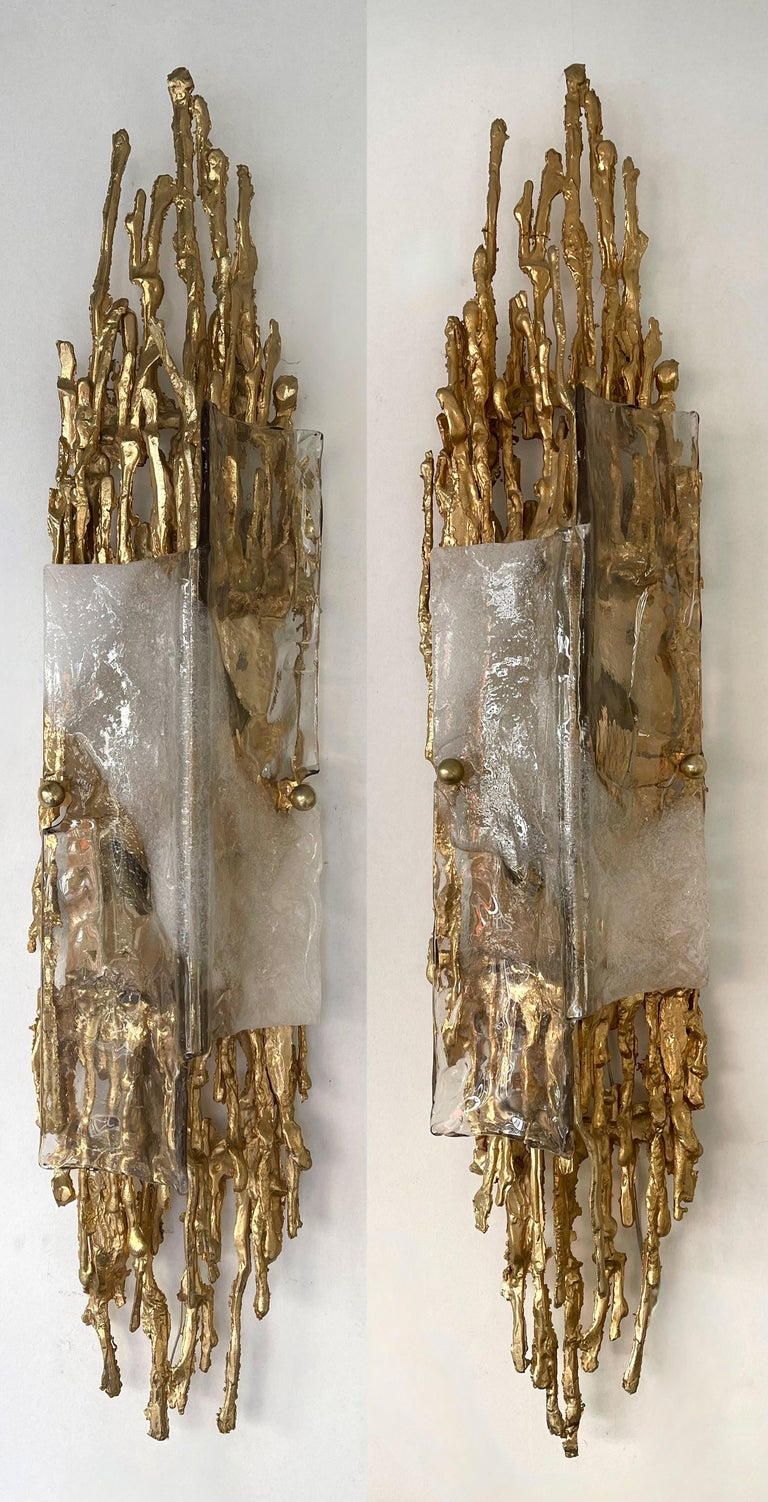 Mid-Century Modern Pair of Gilt Bronze Murano Glass Sconces by Claude Victor Boeltz, France, 1970s For Sale