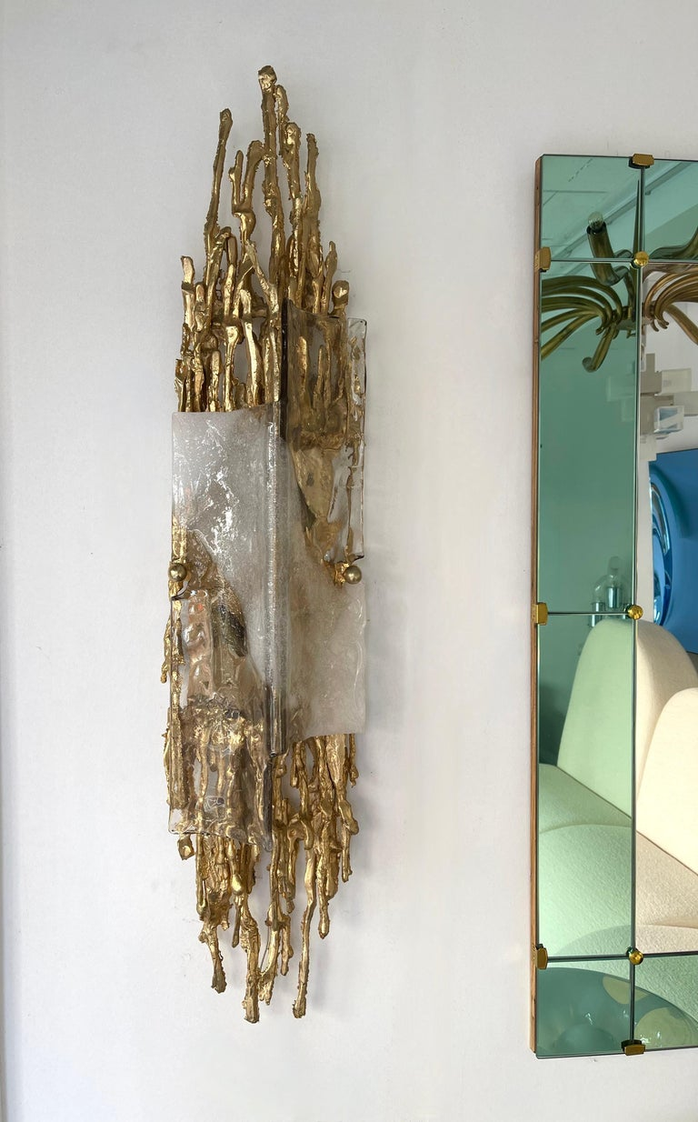 Pair of Gilt Bronze Murano Glass Sconces by Claude Victor Boeltz, France, 1970s For Sale 1