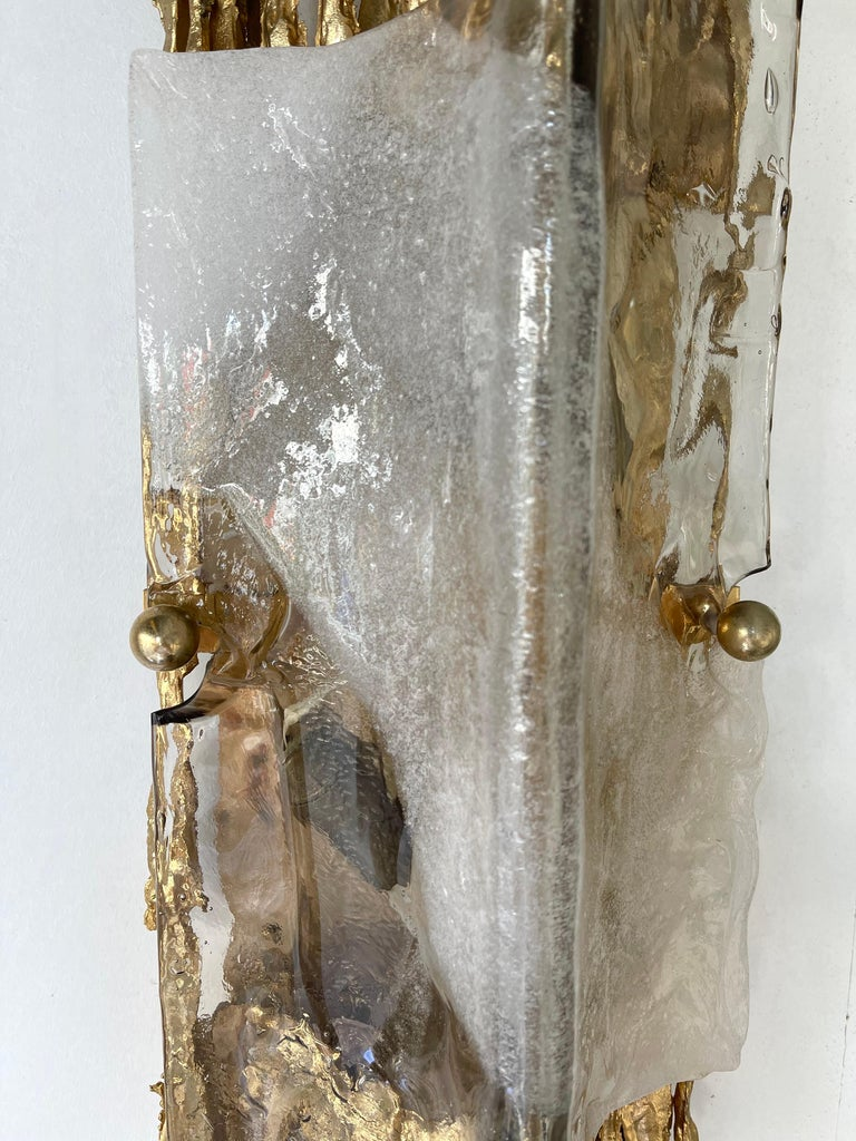 Pair of Gilt Bronze Murano Glass Sconces by Claude Victor Boeltz, France, 1970s For Sale 2