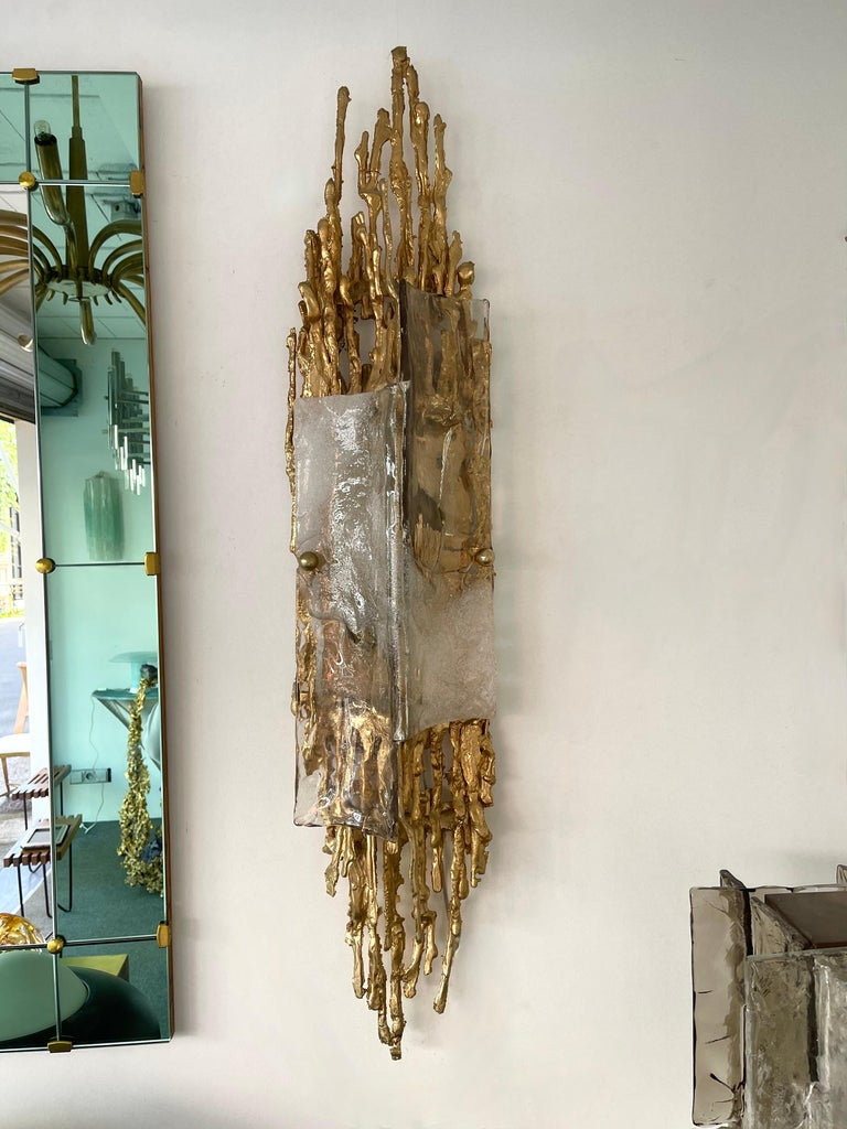Pair of Gilt Bronze Murano Glass Sconces by Claude Victor Boeltz, France, 1970s For Sale 3