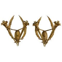 Pair of Gilt Bronze Neoclassical 2-Light Scones