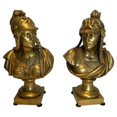 Pair of Gilt Bronze Neoclassical Busts of Minerva and Perseus