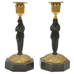 Pair of Gilt Bronze Ormolu Candlesticks